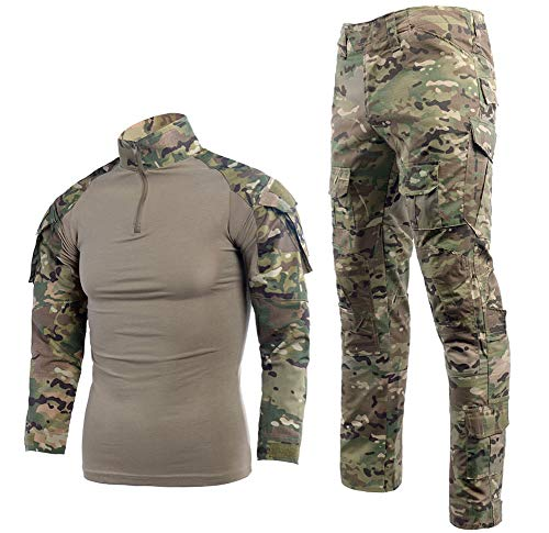 LANBAOSI Taktischer Anzug BDU Kampfshirt Hose für Herren Langarm Ripstop Multicam Militär Uniform Set Airsoft Woodland Jagd Gr. Large, CP