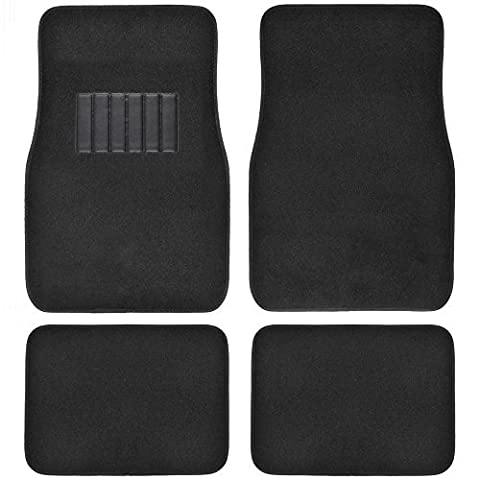 BDK 4pc Premium Carpet Floor Mats - Universal Fit for Car Truck SUV Van - Front & Rear in Solid Black w/ Heelpad by BDK