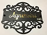 #10: Dlccreation Personalised Nameplate With Gold Mirror Finish Letters - Plate Size : 12