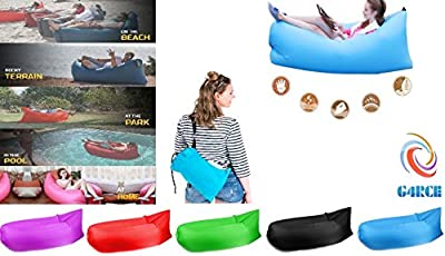G4RCE® Inflatable Blow Up Sofa Air Bed Hammock Portable Bean Bag Festival Camping Holiday Beach Lounger All 4 Season Indoor & Outdoor (Black)