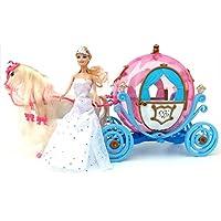 ✨ brigamo 601841–eléctrica cuento Princesa Carroza en forma de calabaza con sonido, iluminación y trischem eléctrico caballo ✨