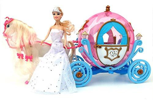 ✨ Brigamo 601841 - Elektrische Märchen Prinzessin Kutsche in Kürbisform mit Sound, Beleuchtung und Elektrischem Pferd ✨ thumbnail