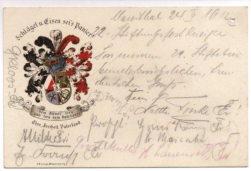 Postkarte: Wappen: Schlägel u. Eisen sei's Panier. Dem Bunde treu und treu dem Vaterlande - Ehre. Freiheit. Vaterland -