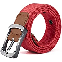 XIANGYINGZHIJIA Belt Belt Belt Canvas Belt para Hombres y Mujeres Pantalones Casuales, 110cm, Rosa