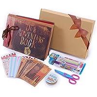 Álbum de fotos DIY, Pootack Scrapbook (19x30cm, 80 páginas, 40 hojas) con un conjunto de pluma de color, tijeras, cintas adhesivas, pegatinas - Regalo único para el cumpleaños / aniversario / boda / graduación para el amante, amigos, familia, niños