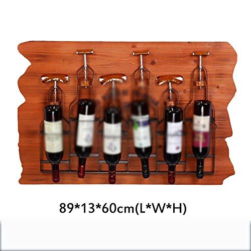 Weinregale Xia Iron Woody Stil Optional Retro Single Flasche Wandbehang Regal Mode Kreative Wohnzimmer Bar (Design : 5) (Regal-single 5)