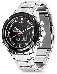 Men's Business Steel Digital Wrist Watch Quartz Analog Dual Time Zone Watch For Men Electronic Alarm Stopwatch...