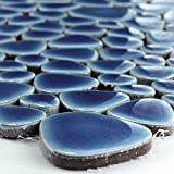Keramik Kiesel Optik Mosaik Fliesen Dunkelblau