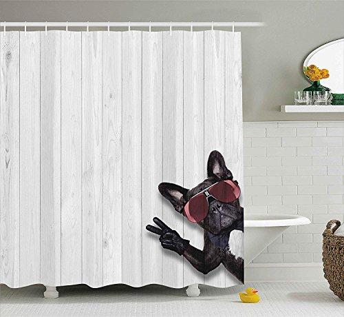CHUNHUA Animal Decor Duschvorhang Cool Husky Dog mit Sonnenbrille die Friedenszeichen mit Paws Art Print Fabric Bathroom Decor Set mit Haken Light Grey