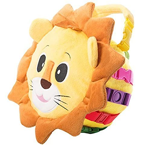 BUCKLE TOY Benny Lion Bag - Toddler Early Learning Basic Life Skills Children's Plush Travel Activity by Buckle Toys