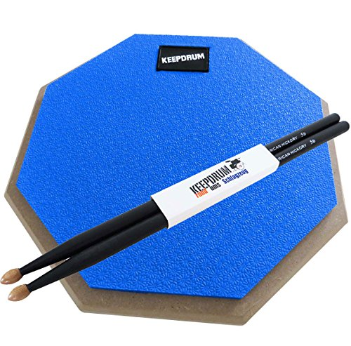 keepdrum-dp-bl-practice-pad-blu-drum-pad-8-mm-filettatura-1-paio-5bb-custodia-black-drum-sticks