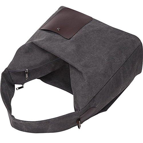 PB-SOAR Damen XXL Vintage Canvas Double Layer Schultertasche Shopper Handtasche Umhängetasche Beuteltasche Freizeittasche (Dunkel Grau) Dunkel Grau
