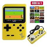 Diswoe Consoles De Jeux Portable, Console de Jeu Retro FC, avec 1 Joystick PCS Games 400 jeux FC classiques Écran couleur de 2,8 pouces, Chargement USB, Grand Cadeau pour Les Enfants (Jaune)