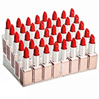 WEBI 40 Spaces Clear Acrylic Lipstick Organizer Display Stand Cosmetic Makeup Organizer for Lipstick, Brushes, Bottles,WB-KH40-Clear