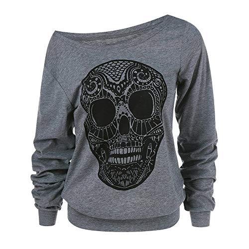 MIRRAY Damen Halloween Langarmshirts Schädel Drucken Tops Skew Kragen Plus Size Sweatshirt Bluse Grau XL-5XL