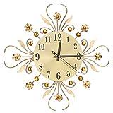 ROSENICE Wanduhr Moderne Metalldiamanten Blume Stille Uhr 3D Wandkunst Bürohaus Wohnzimmer Dekoration (Gold)