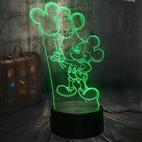 Mouse Holding Ballon Cartoon 3D LED Nachtlicht Schreibtischlampe Kindliche Geburtstag Weihnachtsgeschenk Wohnkultur ()
