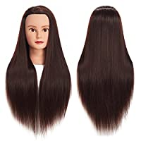 "26""-28"" Mannequin Head Hair Styling Training Head Manikin Cosmetology Doll Head Synthetic Fiber Hair Hairdressing training model with free clamp"