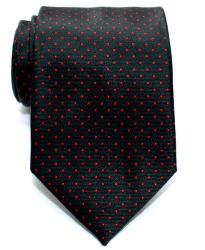 Retreez Cravate Tissée À pois à épingles pour homme - Noir et Roug
