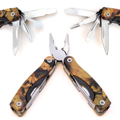Outil multifonction 9 pièces outil d'extérieur repliable-outil avec pince/couteau/tournevis uvm. avec sac en nylon-couleur : camouflage ganzoo