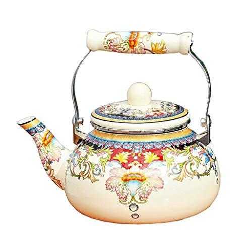 Bouilloire La cuisinière émaillée de de Teakettle imprimant Le cuiseur d'induction de gaz de café de thé de 2.4L Universel 14cm * 22cm * 12cm MUMUJIN