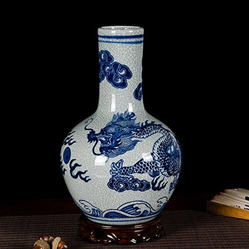 Globular Jar (All Décor Chinesische Porzellan Vase Blume Home Office Decor Handgefertigt und Handbemalt Porzellan mit Blumenmuster (30,5x 20,3x 10,2cm) Chinesisch Globular weiß)