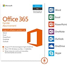 Microsoft Office 365 Famille | 5 PC Windows ou Mac + 5 tablettes | 1 an | Téléchargement