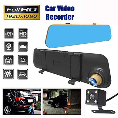 Lippenstift-video-kameras (Webla Auto 4,3-Zoll-HD-Kamera mit Doppelobjektiv, schwarz)