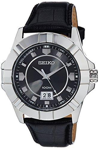 Seiko Señor sur131de cuarzo negro dial negro correa de cuero reloj de pulsera para hombre