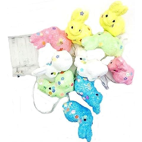 10 Ghirlande pasquali a forma di coniglietto, colori pastello, a batteria, Luci a LED, decorazioni per feste a forma di uovo, 175 cm