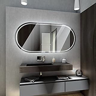 Badspiegel mit LED Beleuchtung von Spiegel-Magic | Wandspiegel Badezimmerspiegel | B x H: 130 cm x 90 cm | Sydney Design