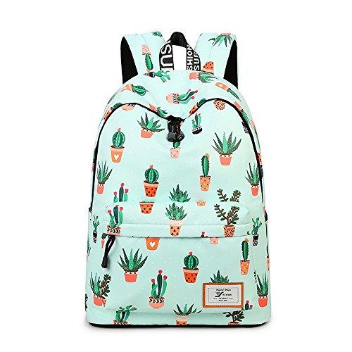 Acmebon Leichter Modischer Schulrucksack Süßer Druck Schulbuch Tasche für Mädchen und Jungen Kaktus 626