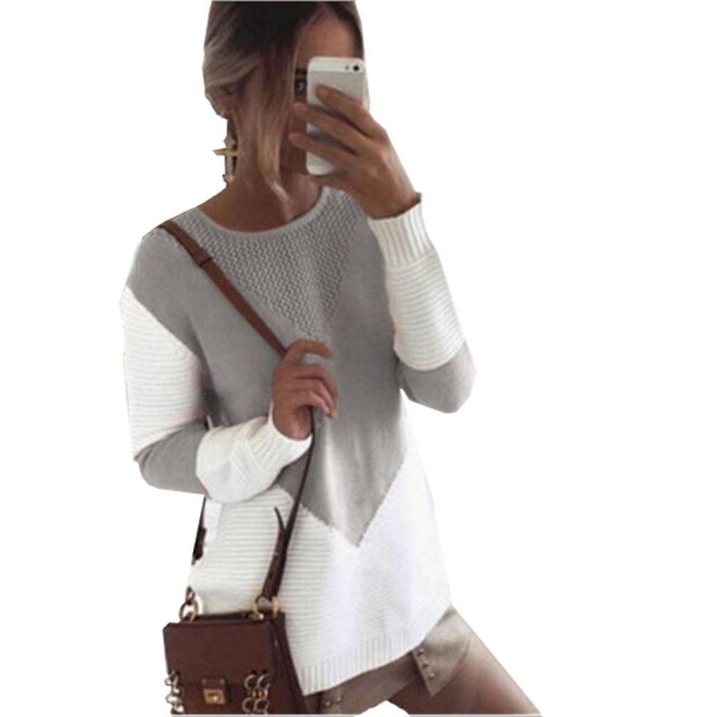 ZKOO Suéter Jerseys De Punto Mujeres Puntadas Manga Larga Cuello Redondo Punto Jerséy Pullover Tops Suelta Otoño e…