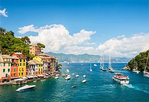 l Foto Hintergrund Seeküste in Portofino Blick auf die Stadt Blaues Seeschiff Italien Stadtlandschaft Fotografie Hintergrund Fotostudio Hintergründe Requisiten ()