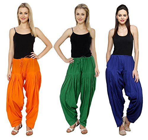 Pistaa Combo of Womens Solid Pure Cotton Orange, Pak Green And Royal...