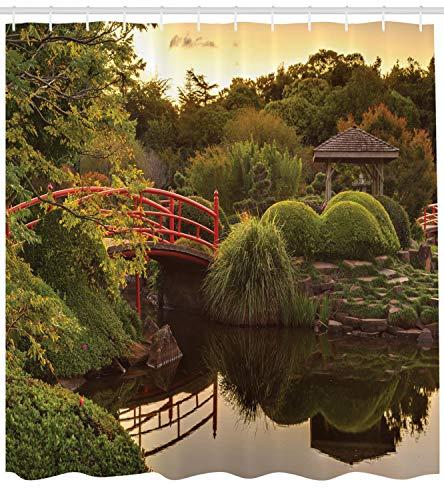 ABAKUHAUS japanisch Duschvorhang, Garten Zen Asien Frieden, mit 12 Ringe Set Wasserdicht Stielvoll Modern Farbfest und Schimmel Resistent, 175x200 cm, Gelb Grün (Zen-kunst-set)