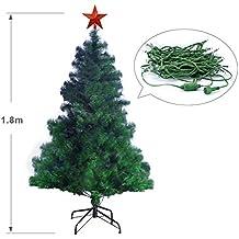 Eforink Árbol de Navidad Natural Verde Artificial, Modelo PINO, 180 cm,572 Ramas,Material PVC, con Estrella Roja, 250 LED Multicolores + 7 Juegos de luces, soporte Metal Incluye
