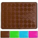 Belmalia Stampo in silicone Macarons per 24 perfetti macaron 48 stampi singoli con rivestimento antiaderente 38x28cm Bruno Marrone