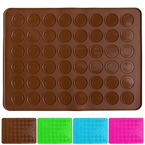 Belmalia Macarons Backmatte aus Silikon für 24 perfekte Makronen 48 Mulden antihaftbeschichtet 38x28cm Braun