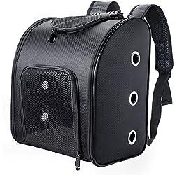 Fypo Mochila para Mascotas Transportín Gatos de Peso hasta 6kg Bolso Transporte Mascota Negro con una Estera Blanca