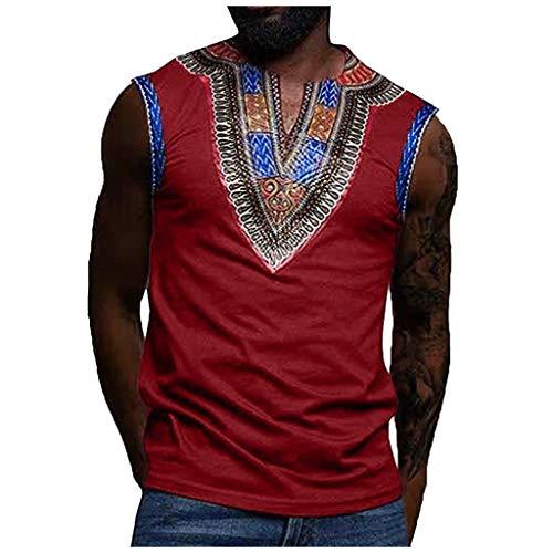 sans Manches Homme CIELLTE Tank Top Eté Homme Nationalité Masculine ImpriméE Afrique Mode T-Shirt D'éTé Chic Chemisier Confortable Top ÉTé Vest Vintage