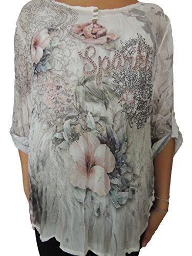 Verschiedene Farben zur Auswahl 2 teilig Blusen mit Unterhemd Größe 42,44,46 Dunkelgrau