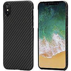 pitaka iPhone X Coque, MagCase Aramide Fiber[Matériau de l'armure corporelle réelle] Mince(0.65mm) Super Léger(14g) Durable Rigide en Caoutchouc Snap-on Case pour iPhone X-Noir/Gris(sergé)