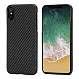 pitaka iPhone X Case, Magcase Aramid Fiber [Bullet Proof Materiale] Cover Ultra Sottile (0.65mm) Super Leggero(14g) Custodia - Nero/Grigio(Spigato)