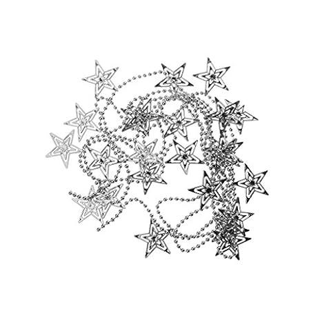 Weihnachten Hohlen Stern Weihnachtsbaum Dekorationen Ornamente Kugelkette Hängen - Silber