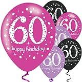Feste Feiern Geburtstagsdeko Zum 60 Geburtstag | 6 Teile Luftballons Pink Schwarz Violett Party Deko Set Happy Birthday