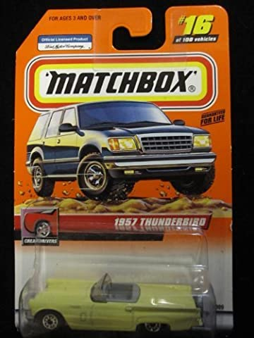 1957 Ford Thunderbird Convertible (Yellow/gray Seats) Matchbox Great Drivers Series #16 by Mattel