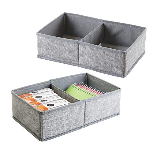 mDesign 2er-Set Schubladen Organizer mit je 2 Fächern ? Stoff Aufbewahrungsbox für Büroutensilien ? großer Schubladeneinsatz für Stifte, Haftnotizen, Büroklammern etc. ? grau