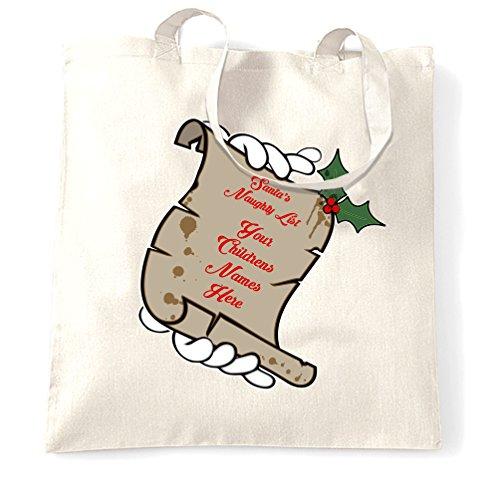 Natale Sacchetto Di Tote Lista Naughty Santa vostri figli nomi qui personalizzato White