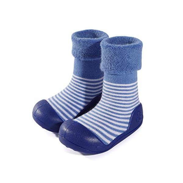 LACOFIA Zapatos de Calcetines Antideslizante de bebé niñas niños Botas de calcetín con Suela de Goma para bebé Unisex 1